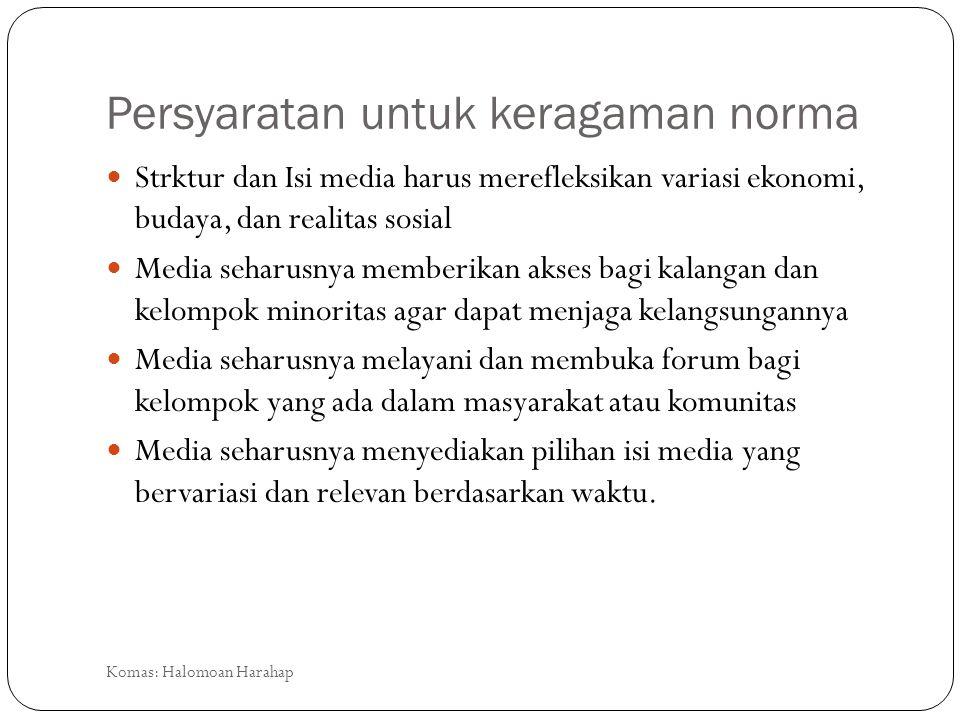 Persyaratan untuk keragaman norma Strktur dan Isi media harus merefleksikan variasi ekonomi, budaya, dan realitas sosial Media seharusnya memberikan a