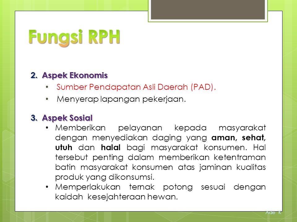  Rumah Pemotongan Hewan (RPH) merupakan Unit Pelaksana teknis (UPT) yang berada dibawah naungan Dinas yang menangani fungsi peternakan, Bidang Kesehatan Hewan dan Ikan.