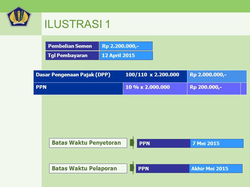 ILUSTRASI 1 Dasar Pengenaan Pajak (DPP)100/110 x 2.200.000Rp 2.000.000,- PPN10 % x 2.000.000Rp 200.000,- Pembelian Semen Tgl Pembayaran Rp 2.200.000,-