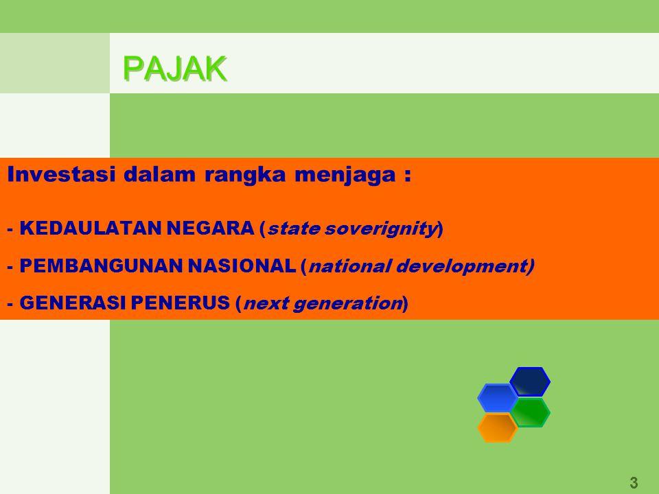 PAJAK 3 Investasi dalam rangka menjaga : - KEDAULATAN NEGARA (state soverignity) - PEMBANGUNAN NASIONAL (national development) - GENERASI PENERUS (next generation)