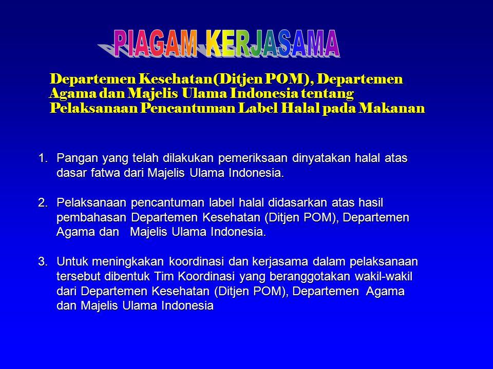 Departemen Kesehatan(Ditjen POM), Departemen Agama dan Majelis Ulama Indonesia tentang Pelaksanaan Pencantuman Label Halal pada Makanan 1.Pangan yang