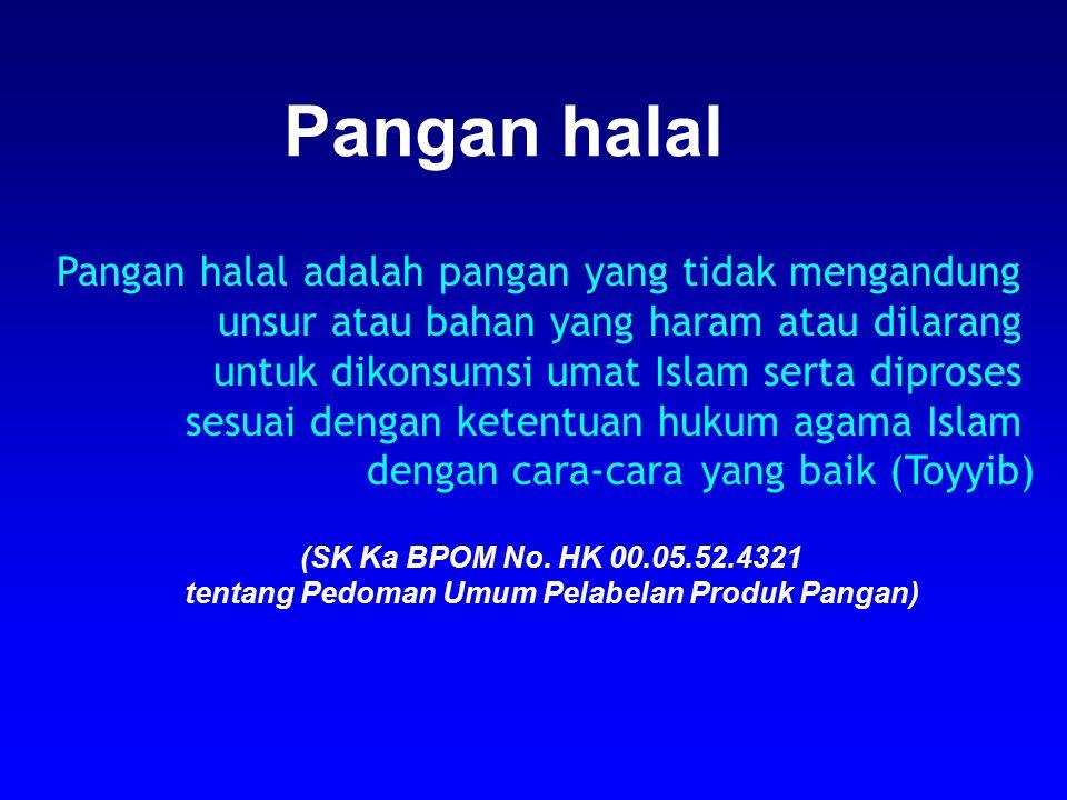 Pangan halal adalah pangan yang tidak mengandung unsur atau bahan yang haram atau dilarang untuk dikonsumsi umat Islam serta diproses sesuai dengan ke