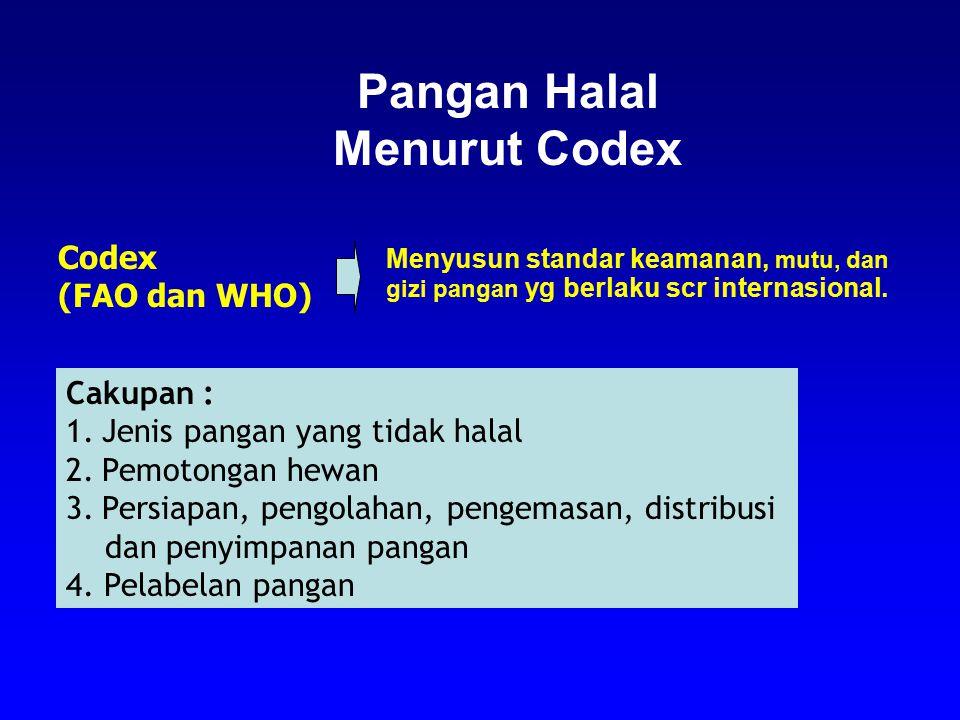 Pangan Halal Menurut Codex Codex (FAO dan WHO) Menyusun standar keamanan, mutu, dan gizi pangan yg berlaku scr internasional. Cakupan : 1.Jenis pangan