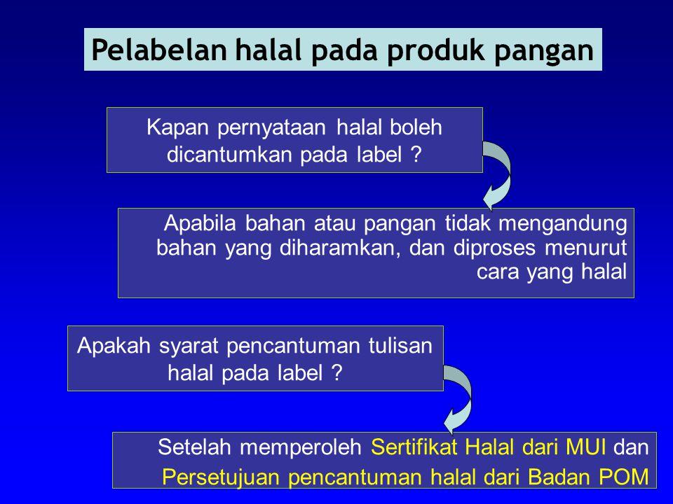 Kapan pernyataan halal boleh dicantumkan pada label ? Apabila bahan atau pangan tidak mengandung bahan yang diharamkan, dan diproses menurut cara yang