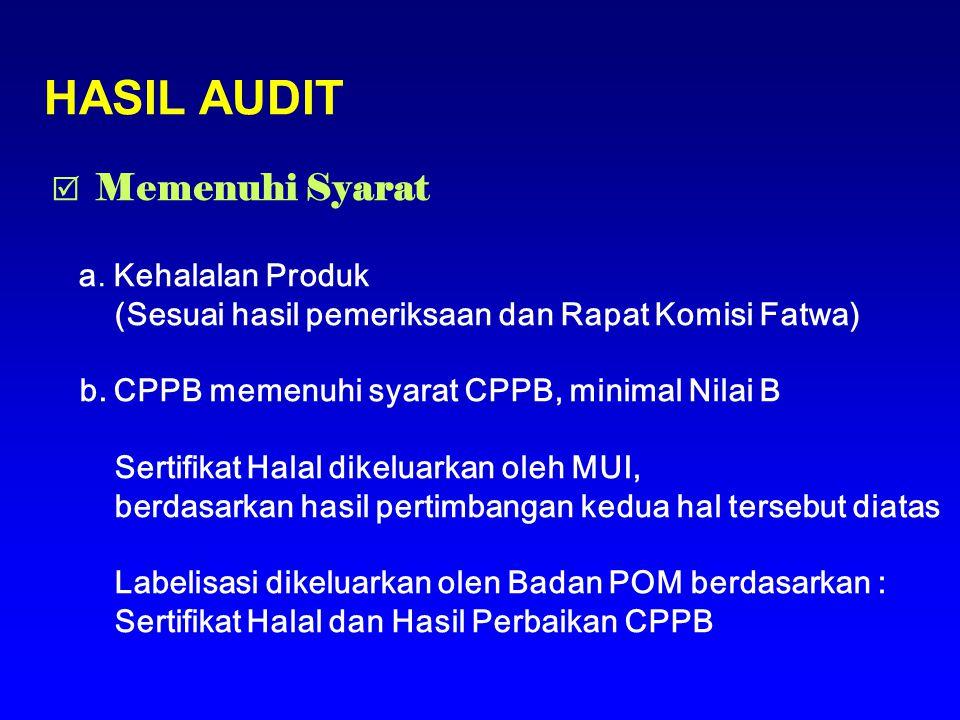 HASIL AUDIT  Memenuhi Syarat a. Kehalalan Produk (Sesuai hasil pemeriksaan dan Rapat Komisi Fatwa) b. CPPB memenuhi syarat CPPB, minimal Nilai B Sert