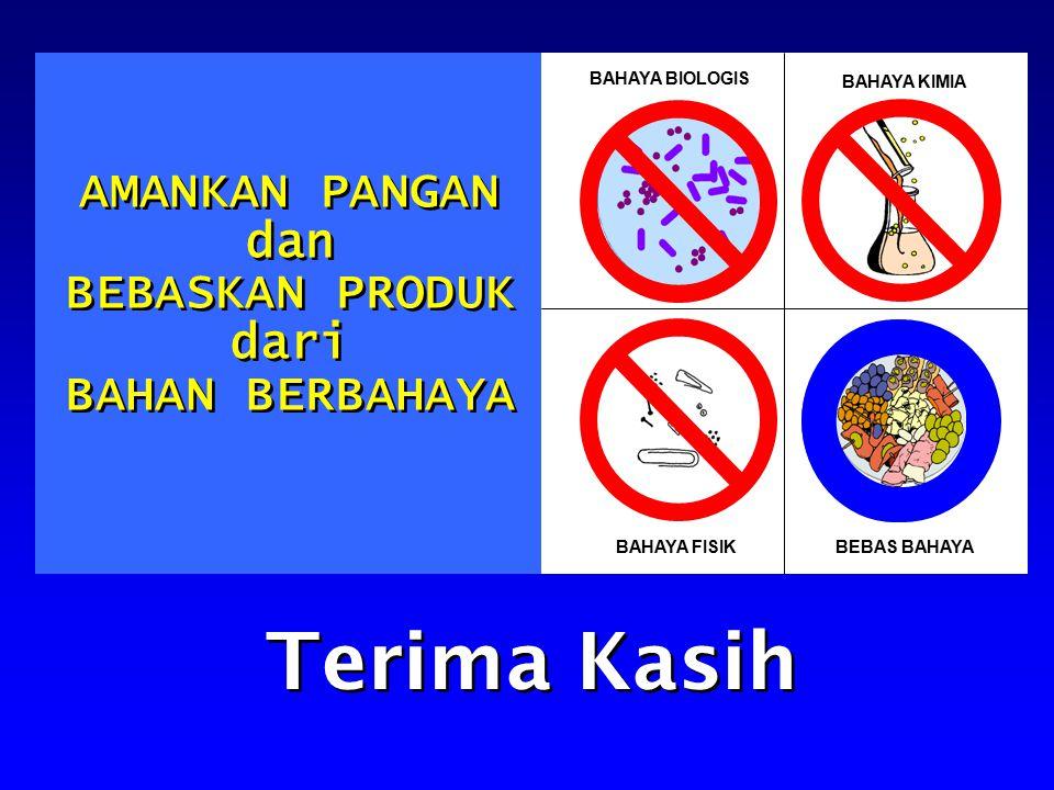 BAHAYA BIOLOGIS BAHAYA KIMIA BAHAYA FISIKBEBAS BAHAYA AMANKAN PANGAN dan BEBASKAN PRODUK dari BAHAN BERBAHAYA AMANKAN PANGAN dan BEBASKAN PRODUK dari