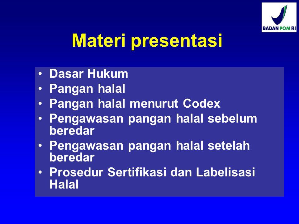 Materi presentasi Dasar Hukum Pangan halal Pangan halal menurut Codex Pengawasan pangan halal sebelum beredar Pengawasan pangan halal setelah beredar