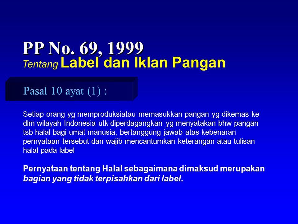 PP No. 69, 1999 Tentang Label dan Iklan Pangan Setiap orang yg memproduksiatau memasukkan pangan yg dikemas ke dlm wilayah Indonesia utk diperdagangka