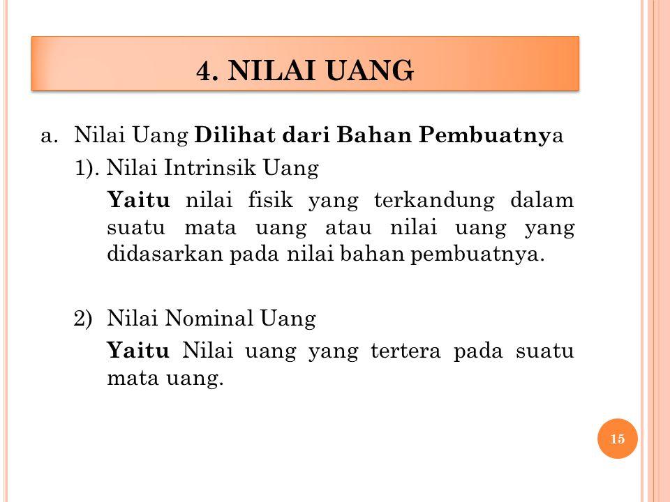 a.Nilai Uang Dilihat dari Bahan Pembuatny a 1).