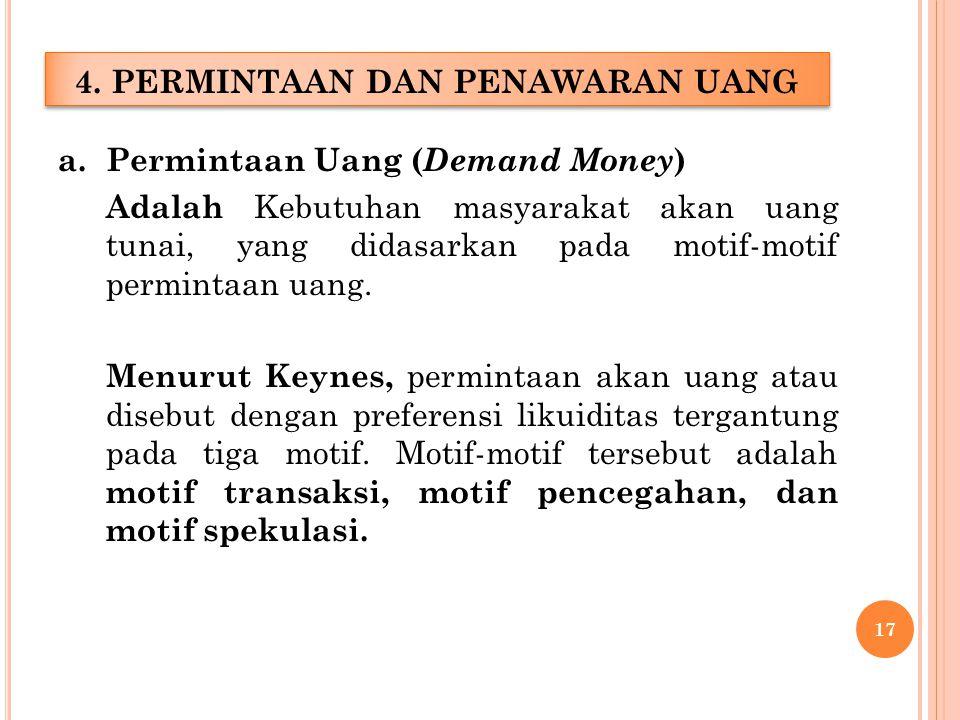 a.Permintaan Uang ( Demand Money ) Adalah Kebutuhan masyarakat akan uang tunai, yang didasarkan pada motif-motif permintaan uang.