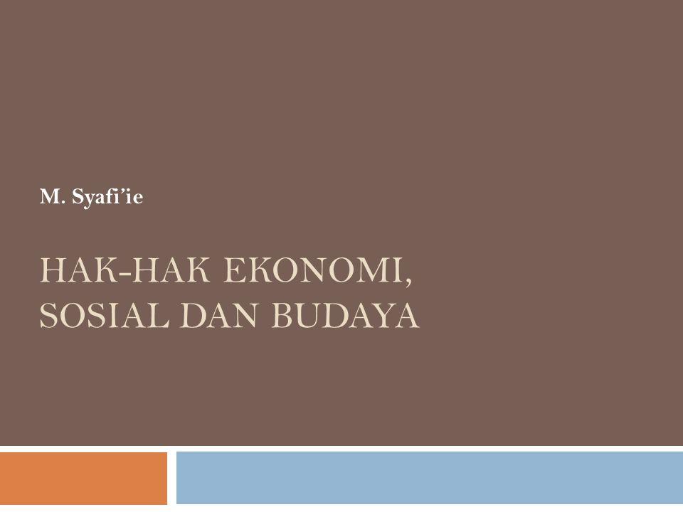 HAK-HAK EKONOMI, SOSIAL DAN BUDAYA M. Syafi'ie