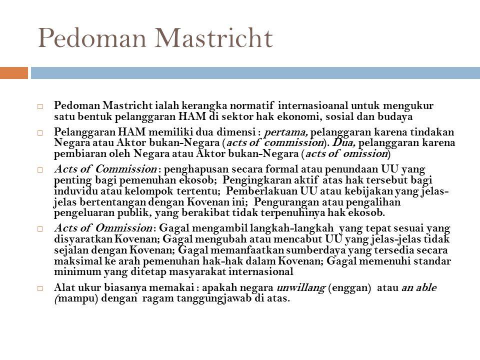 Pedoman Mastricht  Pedoman Mastricht ialah kerangka normatif internasioanal untuk mengukur satu bentuk pelanggaran HAM di sektor hak ekonomi, sosial