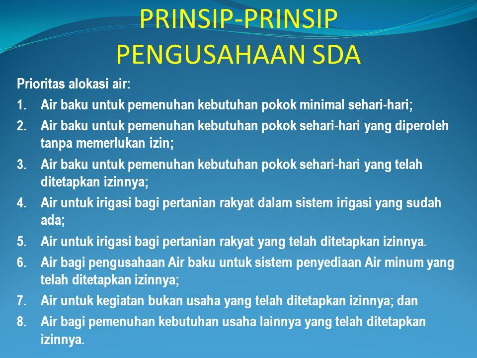 PRINSIP-PRINSIP PENGUSAHAAN SDA Prioritas alokasi air: 1. Air baku untuk pemenuhan kebutuhan pokok minimal sehari-hari; 2. Air baku untuk pemenuhan ke