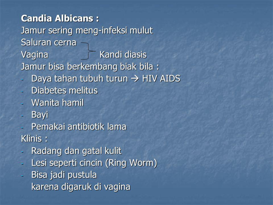 Candia Albicans : Jamur sering meng-infeksi mulut Saluran cerna Vagina Kandi diasis Jamur bisa berkembang biak bila : - Daya tahan tubuh turun  HIV AIDS - Diabetes melitus - Wanita hamil - Bayi - Pemakai antibiotik lama Klinis : - Radang dan gatal kulit - Lesi seperti cincin (Ring Worm) - Bisa jadi pustula karena digaruk di vagina