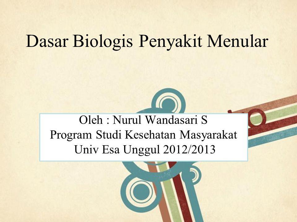 Page 1 Dasar Biologis Penyakit Menular Oleh : Nurul Wandasari S Program Studi Kesehatan Masyarakat Univ Esa Unggul 2012/2013