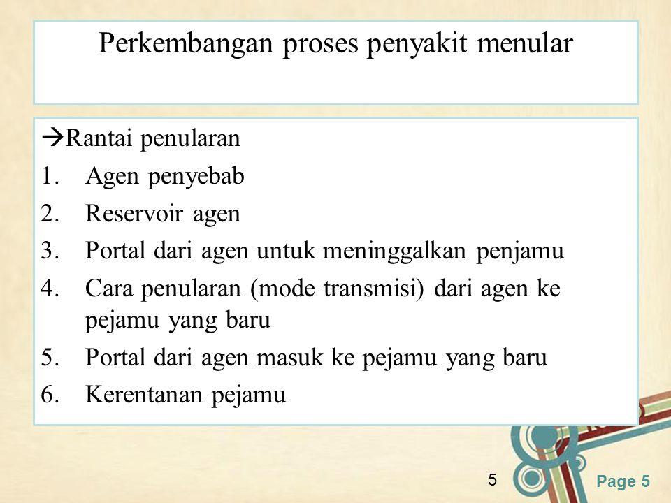 Page 5 5 Perkembangan proses penyakit menular  Rantai penularan 1.Agen penyebab 2.Reservoir agen 3.Portal dari agen untuk meninggalkan penjamu 4.Cara
