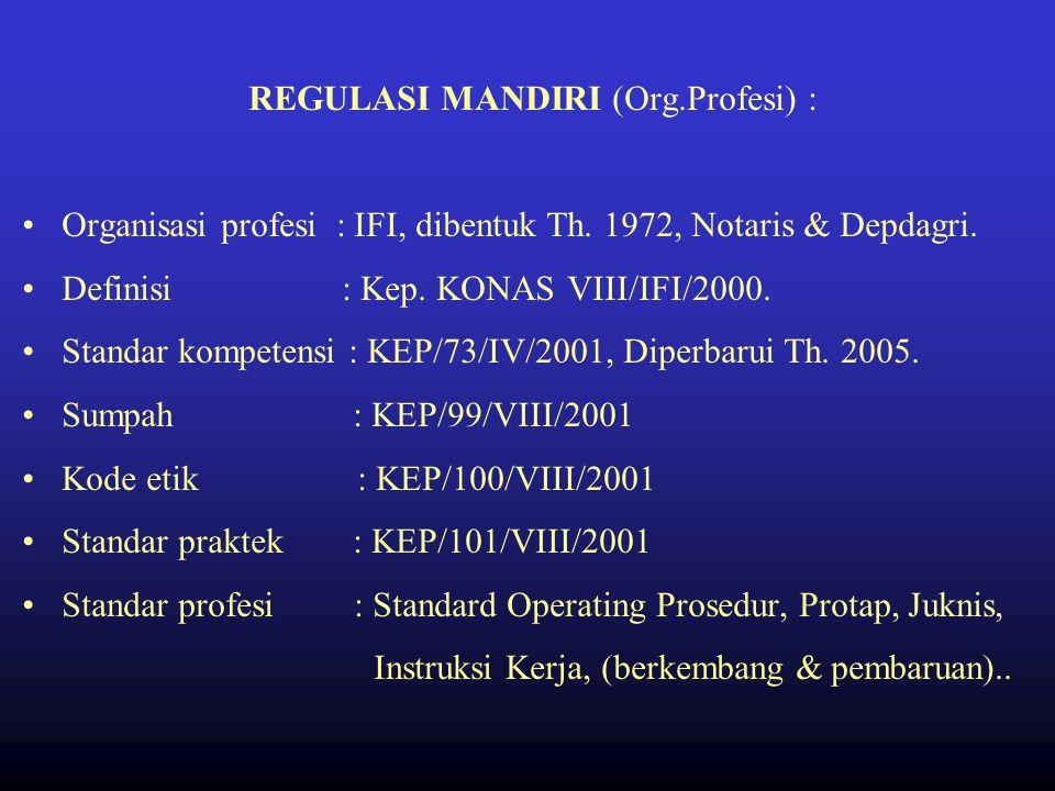 REGULASI PROFESI Perangkat profesional (UU.23/92; PP.32/96; Indonesia Sehat 2010) SELF REGULATION (Org.Profesi) Organisasi profesi Definisi Standar ko