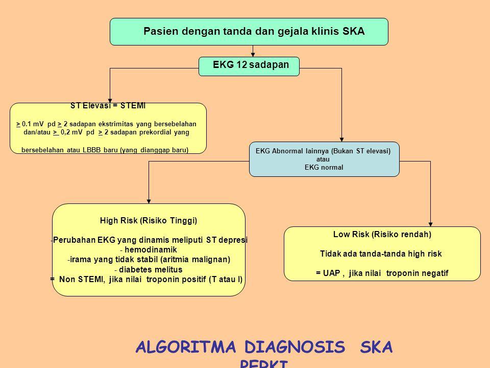 Pasien dengan tanda dan gejala klinis SKA EKG 12 sadapan ST Elevasi = STEMI > 0.1 mV pd > 2 sadapan ekstrimitas yang bersebelahan dan/atau > 0,2 mV pd