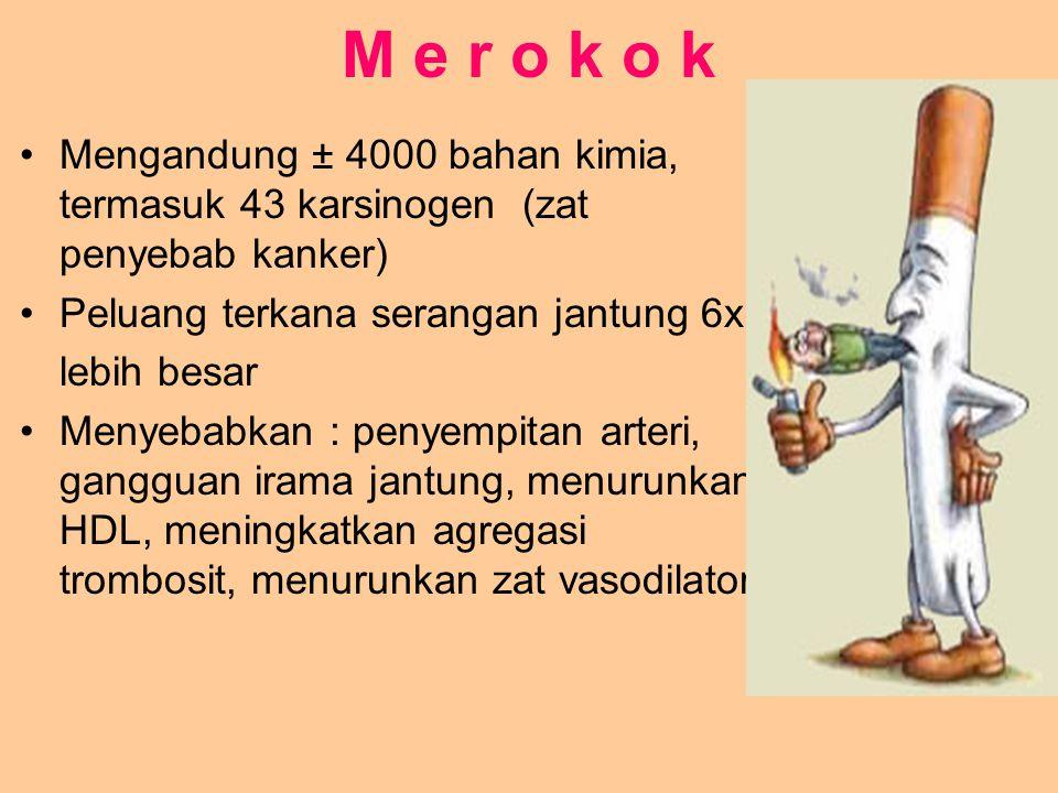 M e r o k o k Mengandung ± 4000 bahan kimia, termasuk 43 karsinogen (zat penyebab kanker) Peluang terkana serangan jantung 6x lebih besar Menyebabkan