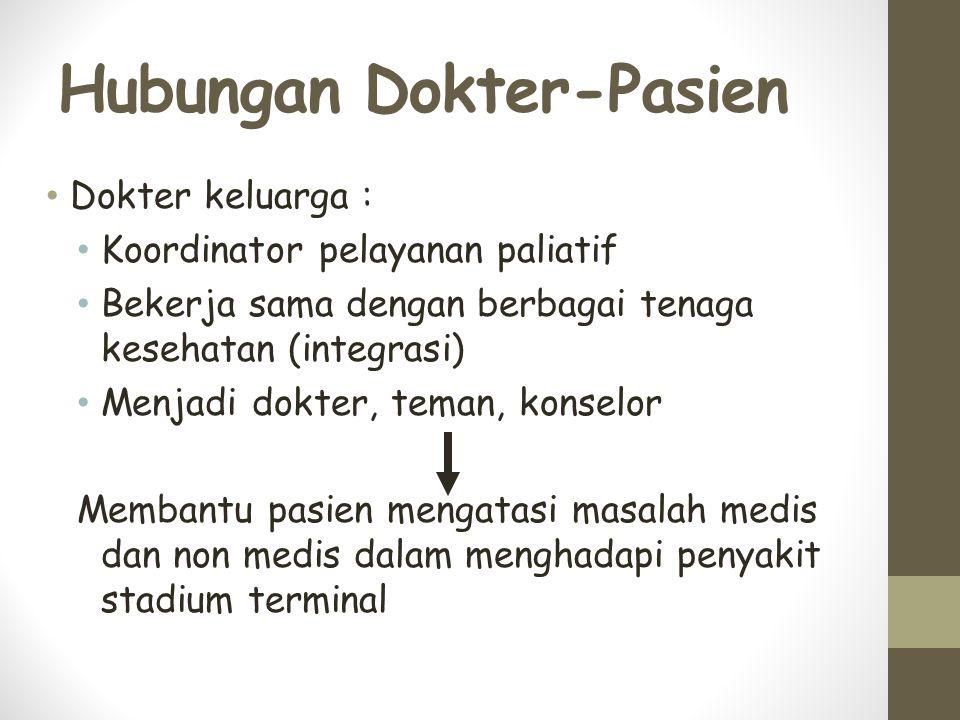 Hubungan Dokter-Pasien Dokter keluarga : Koordinator pelayanan paliatif Bekerja sama dengan berbagai tenaga kesehatan (integrasi) Menjadi dokter, teman, konselor Membantu pasien mengatasi masalah medis dan non medis dalam menghadapi penyakit stadium terminal