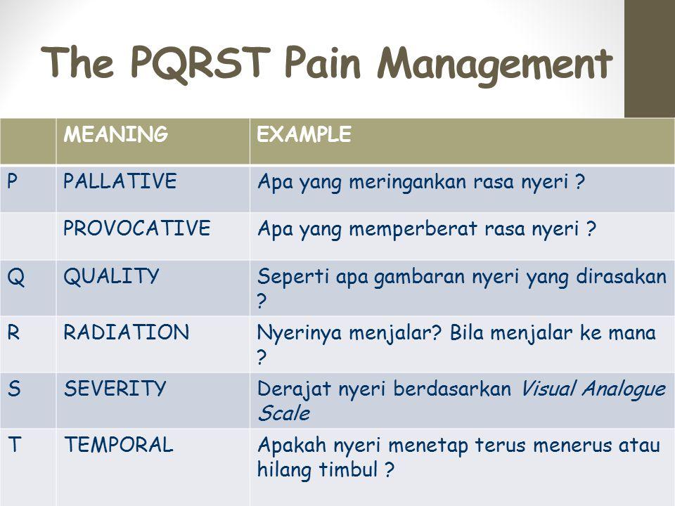 The PQRST Pain Management MEANINGEXAMPLE PPALLATIVEApa yang meringankan rasa nyeri .