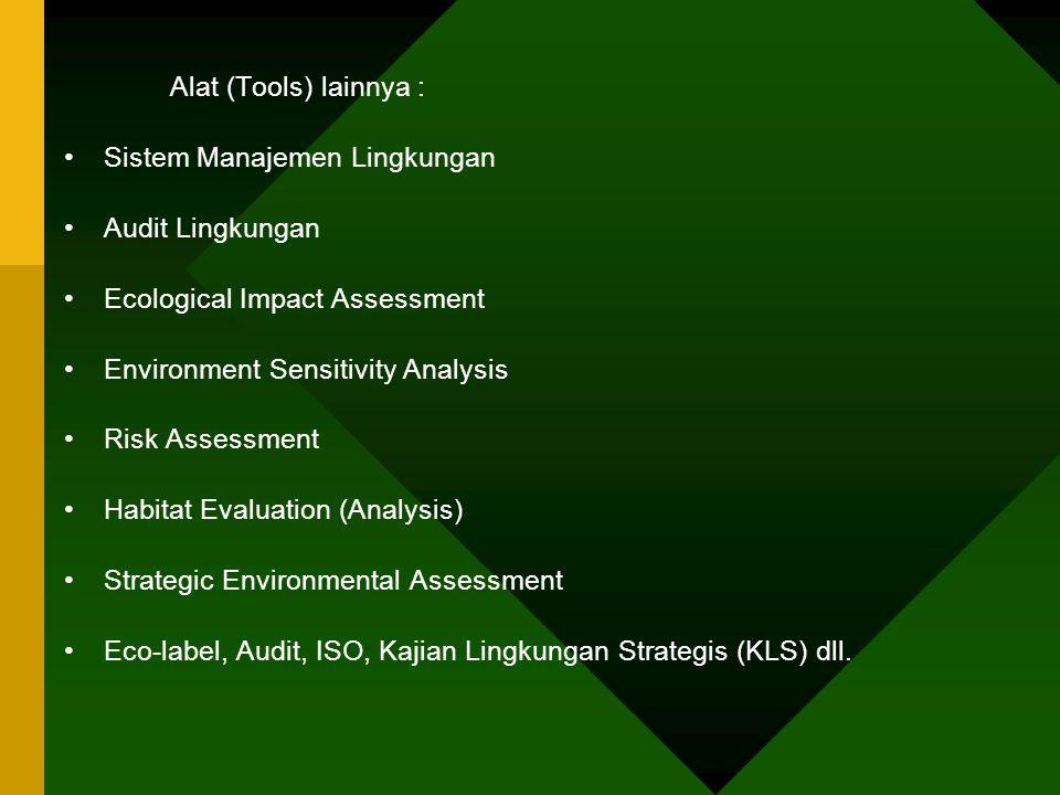 Alat (Tools) lainnya : Sistem Manajemen Lingkungan Audit Lingkungan Ecological Impact Assessment Environment Sensitivity Analysis Risk Assessment Habi