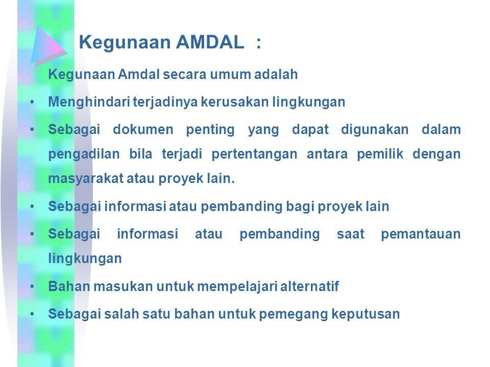 Kegunaan AMDAL : Kegunaan Amdal secara umum adalah Menghindari terjadinya kerusakan lingkungan Sebagai dokumen penting yang dapat digunakan dalam peng