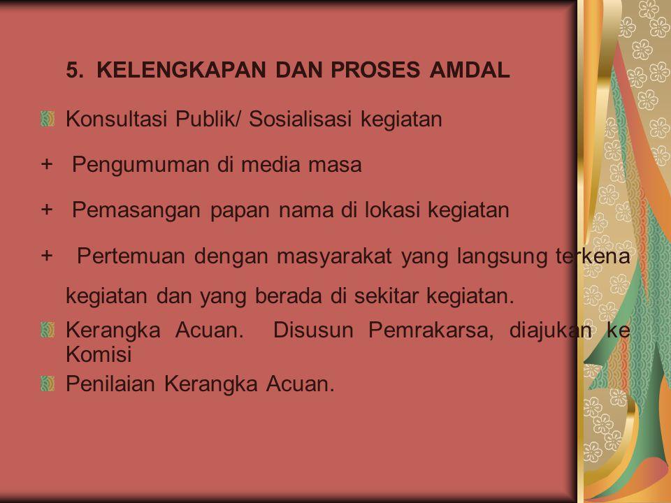 5. KELENGKAPAN DAN PROSES AMDAL Konsultasi Publik/ Sosialisasi kegiatan + Pengumuman di media masa + Pemasangan papan nama di lokasi kegiatan + Pertem