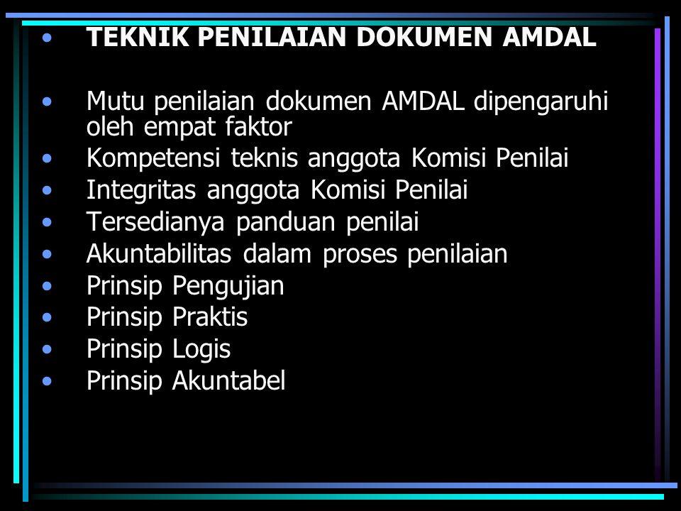 TEKNIK PENILAIAN DOKUMEN AMDAL Mutu penilaian dokumen AMDAL dipengaruhi oleh empat faktor Kompetensi teknis anggota Komisi Penilai Integritas anggota