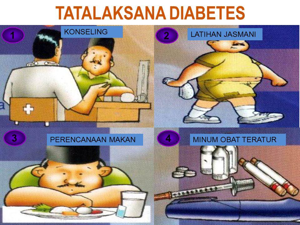 TATALAKSANA DIABETES 1 2 3 4 KONSELING MINUM OBAT TERATUR LATIHAN JASMANI PERENCANAAN MAKAN