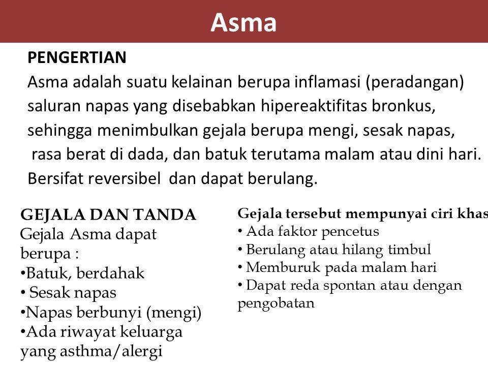 Asma PENGERTIAN Asma adalah suatu kelainan berupa inflamasi (peradangan) saluran napas yang disebabkan hipereaktifitas bronkus, sehingga menimbulkan g