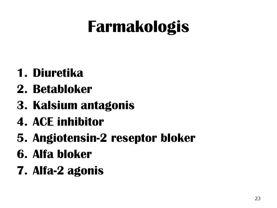 Farmakologis 1.Diuretika 2.Betabloker 3.Kalsium antagonis 4.ACE inhibitor 5.Angiotensin-2 reseptor bloker 6.Alfa bloker 7.Alfa-2 agonis 23