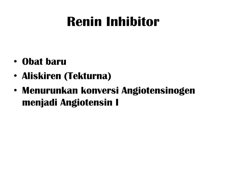 Renin Inhibitor Obat baru Aliskiren (Tekturna) Menurunkan konversi Angiotensinogen menjadi Angiotensin I