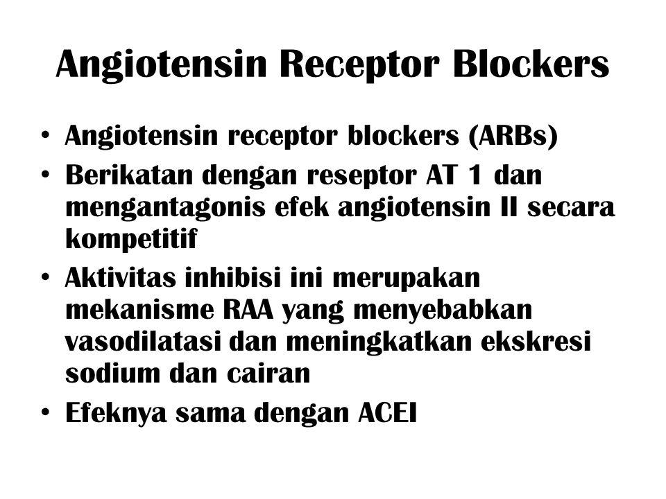 Angiotensin Receptor Blockers Angiotensin receptor blockers (ARBs) Berikatan dengan reseptor AT 1 dan mengantagonis efek angiotensin II secara kompeti