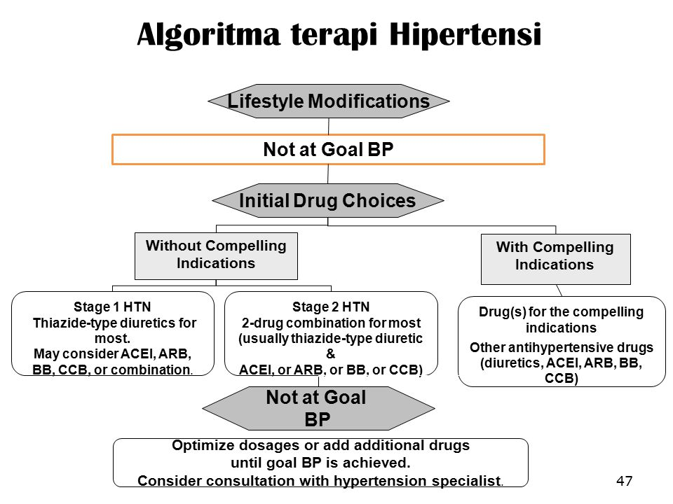 Algoritma terapi Hipertensi 47 Not at Goal BP Initial Drug Choices Drug(s) for the compelling indications Other antihypertensive drugs (diuretics, ACEI, ARB, BB, CCB) With Compelling Indications Lifestyle Modifications Stage 2 HTN 2-drug combination for most (usually thiazide-type diuretic & ACEI, or ARB, or BB, or CCB) Stage 1 HTN Thiazide-type diuretics for most.