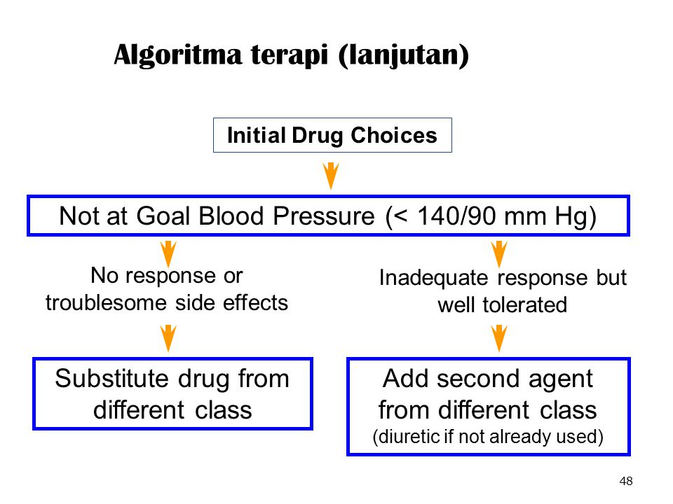 Algoritma terapi (lanjutan) 48 Not at Goal Blood Pressure (< 140/90 mm Hg) No response or troublesome side effects Inadequate response but well tolerated Substitute drug from different class Add second agent from different class (diuretic if not already used) Initial Drug Choices