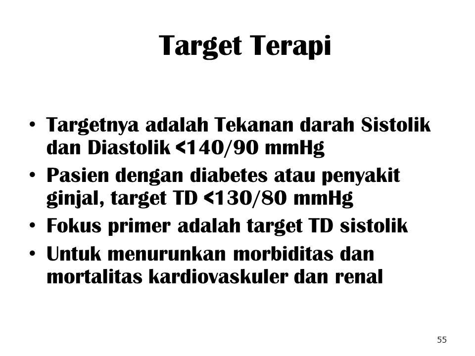 Target Terapi Targetnya adalah Tekanan darah Sistolik dan Diastolik <140/90 mmHg Pasien dengan diabetes atau penyakit ginjal, target TD <130/80 mmHg F