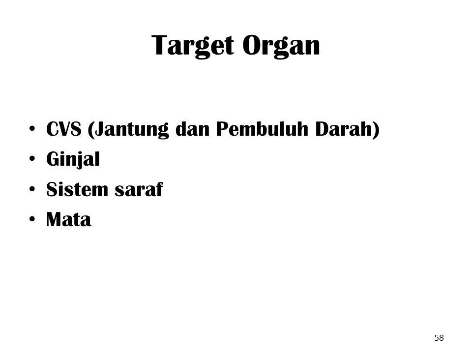 Target Organ CVS (Jantung dan Pembuluh Darah) Ginjal Sistem saraf Mata 58