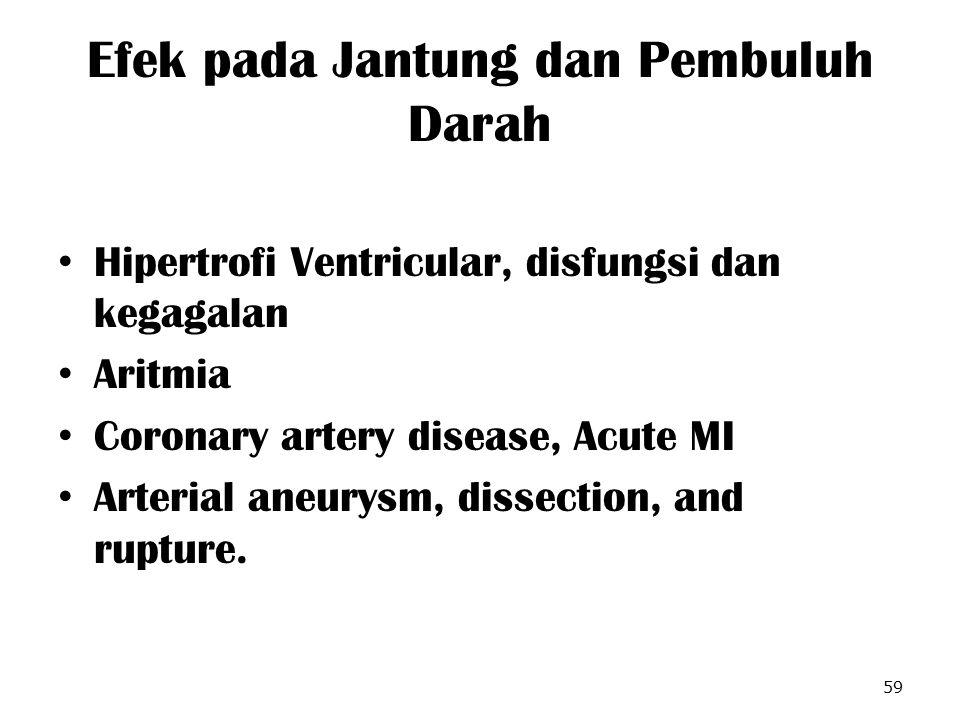 Efek pada Jantung dan Pembuluh Darah Hipertrofi Ventricular, disfungsi dan kegagalan Aritmia Coronary artery disease, Acute MI Arterial aneurysm, diss