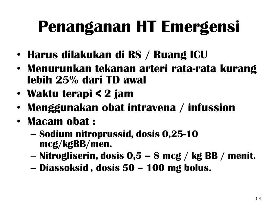 Penanganan HT Emergensi Harus dilakukan di RS / Ruang ICU Menurunkan tekanan arteri rata-rata kurang lebih 25% dari TD awal Waktu terapi < 2 jam Mengg