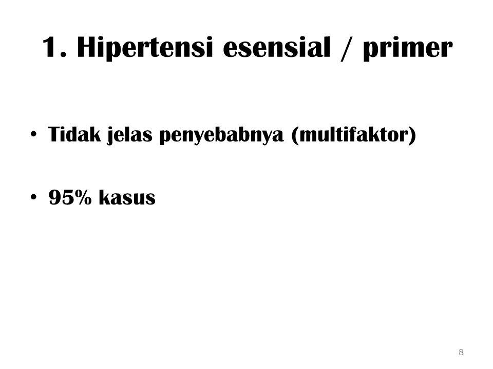 1. Hipertensi esensial / primer Tidak jelas penyebabnya (multifaktor) 95% kasus 8