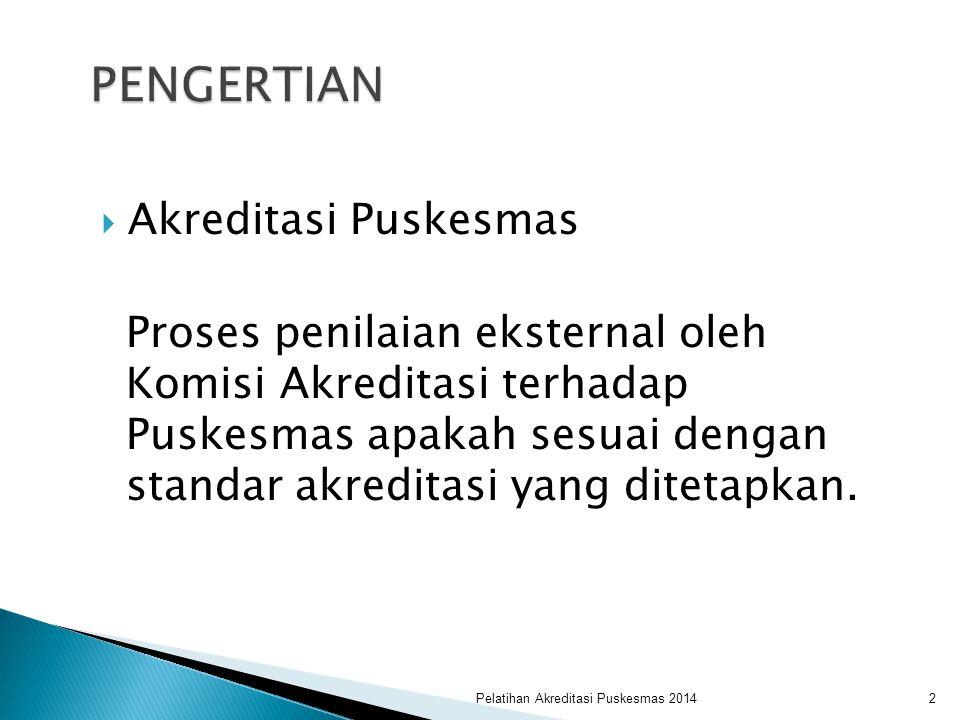  Akreditasi Puskesmas Proses penilaian eksternal oleh Komisi Akreditasi terhadap Puskesmas apakah sesuai dengan standar akreditasi yang ditetapkan. P