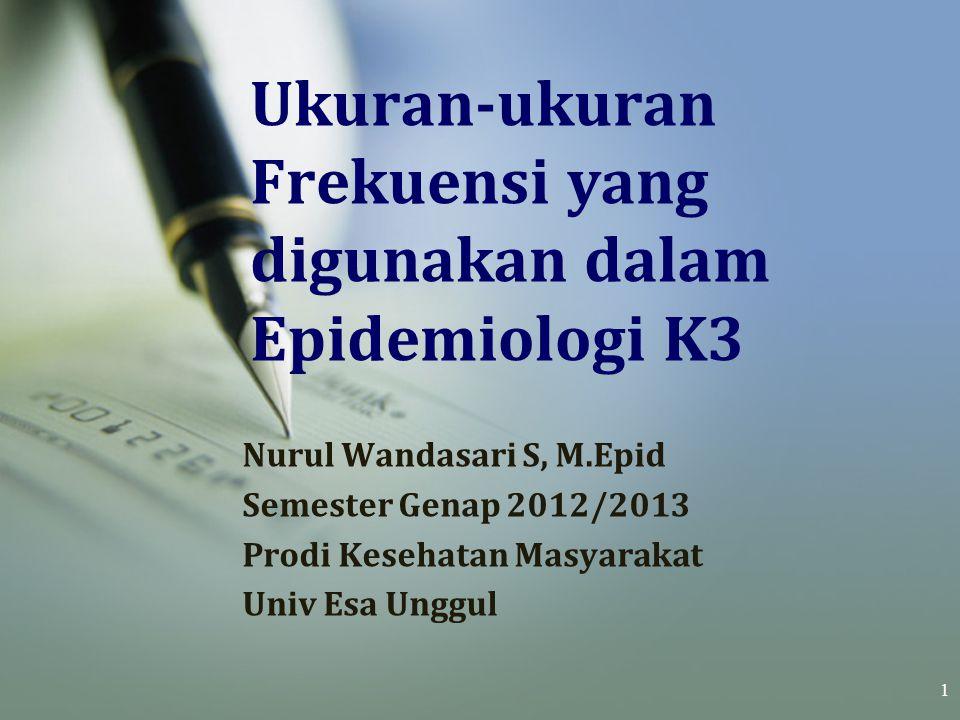 Ukuran-ukuran Frekuensi yang digunakan dalam Epidemiologi K3 1 Nurul Wandasari S, M.Epid Semester Genap 2012/2013 Prodi Kesehatan Masyarakat Univ Esa