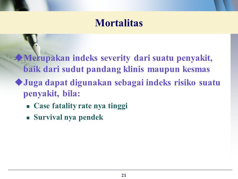  Merupakan indeks severity dari suatu penyakit, baik dari sudut pandang klinis maupun kesmas  Juga dapat digunakan sebagai indeks risiko suatu penya