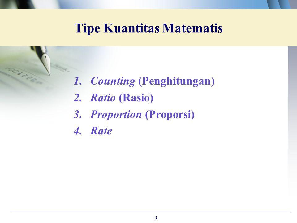 1.Counting (Penghitungan) 2.Ratio (Rasio) 3.Proportion (Proporsi) 4.Rate Tipe Kuantitas Matematis 3