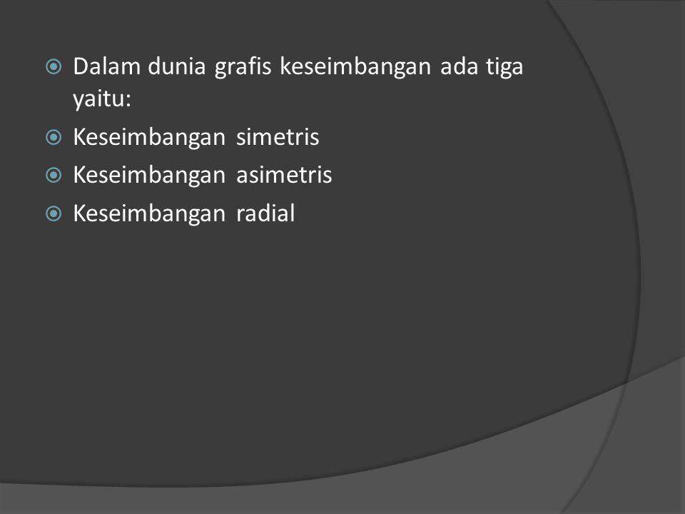  Dalam dunia grafis keseimbangan ada tiga yaitu:  Keseimbangan simetris  Keseimbangan asimetris  Keseimbangan radial