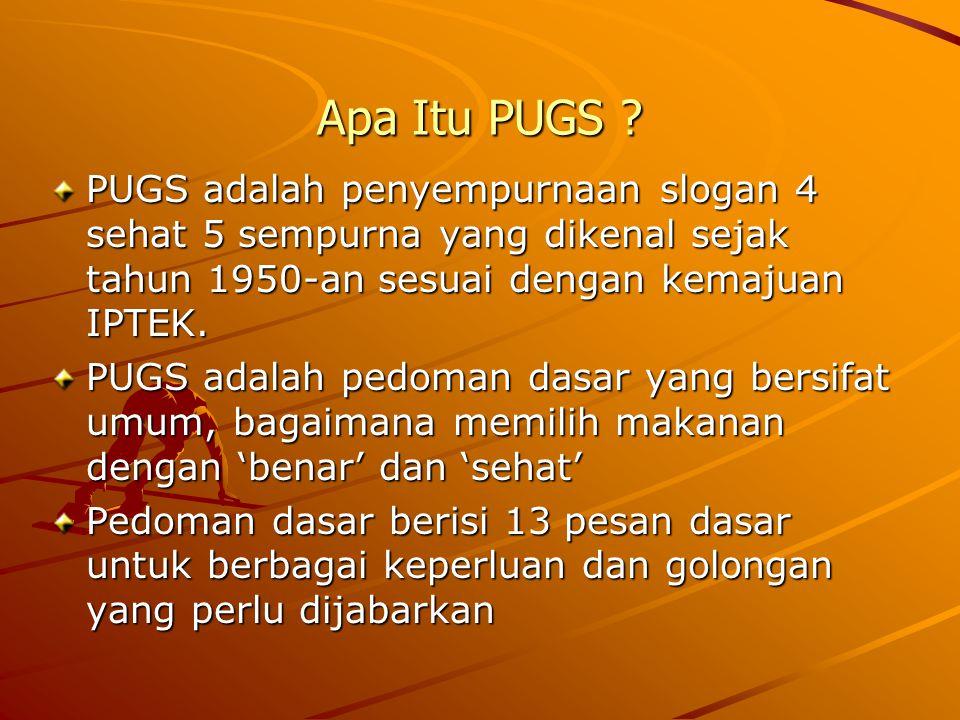 Apa Itu PUGS ? PUGS adalah penyempurnaan slogan 4 sehat 5 sempurna yang dikenal sejak tahun 1950-an sesuai dengan kemajuan IPTEK. PUGS adalah pedoman