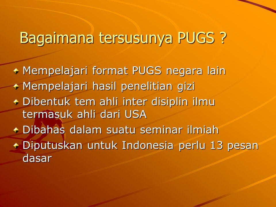 Bagaimana tersusunya PUGS ? Mempelajari format PUGS negara lain Mempelajari hasil penelitian gizi Dibentuk tem ahli inter disiplin ilmu termasuk ahli