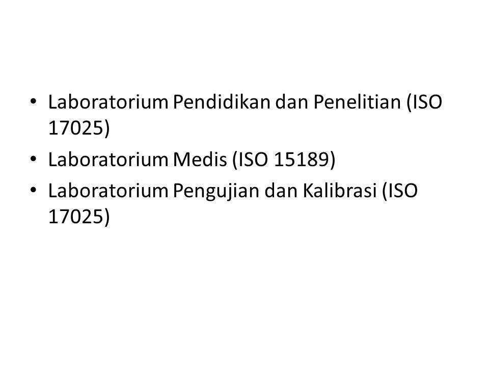 Laboratorium Pendidikan dan Penelitian (ISO 17025) Laboratorium Medis (ISO 15189) Laboratorium Pengujian dan Kalibrasi (ISO 17025)