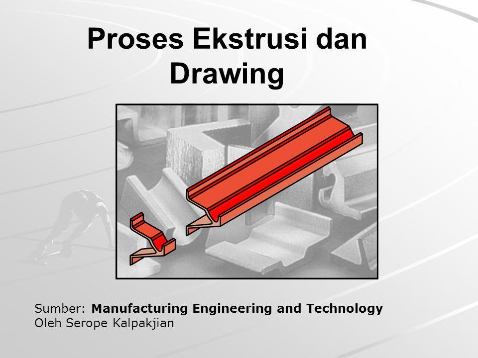 2 Proses Ekstrusi Proses ekstrusi: adalah proses dimana billet (biasanya dengan penampang silindris) ditekan melewati cetakan (dies), sehingga dihasilkan b-kerja dengan penampang tertentu.